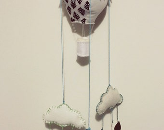 Handmade Hot Air Balloon, Bunting & Clouds Hanging Mobile