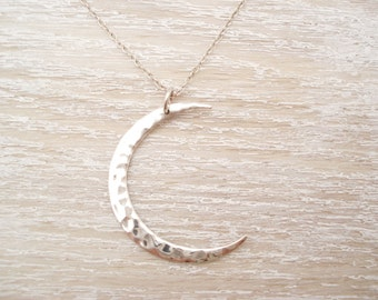 Sterling silver Crescent Moon necklace...simple everyday jewelry, long necklace,friendship, birthday, bridesmaid gift