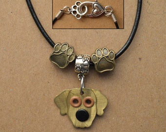 Golden Retriever Necklace Breed Pet Dog Metal Jewelry Leather