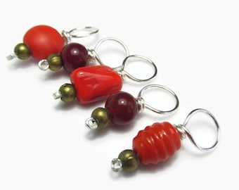 Stitch markers for knitting, red and bronze glass knit markers