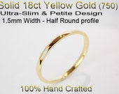 18ct 750 Solid Yellow Gold Ring Wedding Engagement Friendship Half Round Band 1.5mm