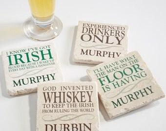 Irish Quotes Personalized Tumbled Stone Coaster Set