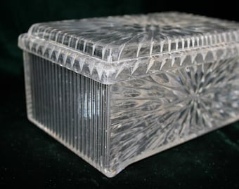 "Vintage ""crystal"" storage container; jewelry stash, hair accessories, pretty acrylic container"