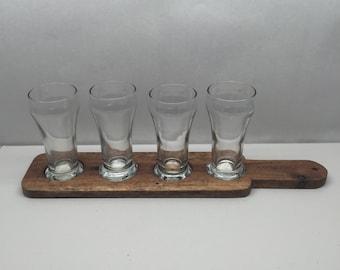 4 Taster Reclaimed Wood Handled Craft Beer Flight w/ 5 Mini 6oz Pilsner Glasses