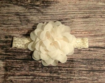 Cream Chiffon and Lace Flower Lace Headband - Baby Girl Headbands - Baby Headbands - Baby Bows - Headbands for Babies - Ivory - Cream - Bows