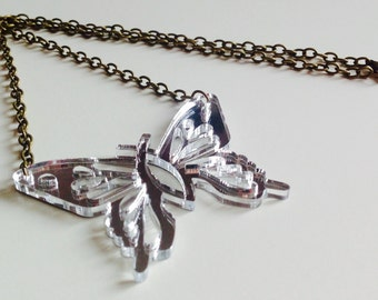 Sale | Butterfly | Statement | Pretty | Cut Out | Mirrored | Silver | Laser Cut | Acrylic | Necklace