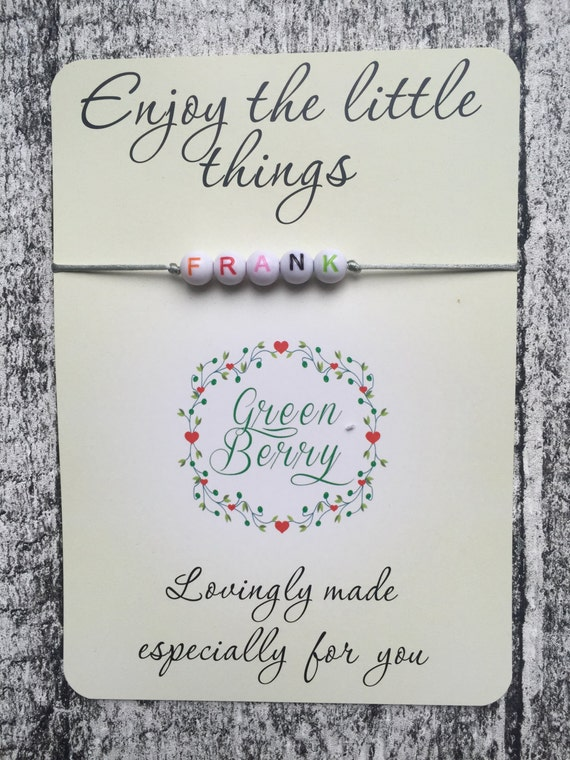 """Beaded String Bracelet with ANY word on """"Enjoy the little things"""" quote card madebygreenberry wish bracelet"""