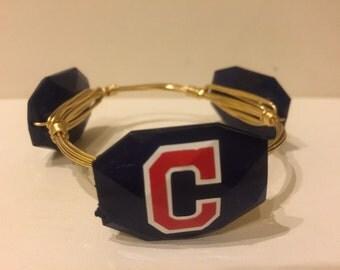 Cleveland Indians Wrapped Bangle Bracelet Baseball Team Gameday Bangle Bracelet