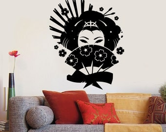 Wall Vinyl Decal Japan Japanese Geisha Eastern Girl Cool Decor 1286dz