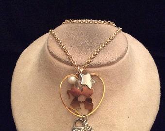Vintage Children Heart Charms Pendant Necklace