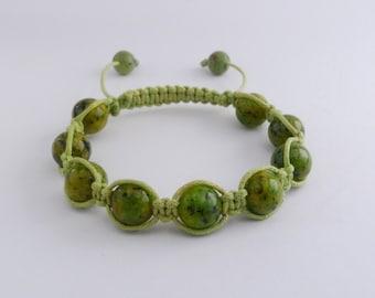 Beautiful handmade Сhrysoprase beads Shamballa bracelet