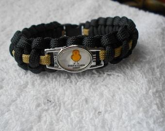 """Thin Gold Line =  """"Dispatcher Chick"""" Paracord Bracelet"""