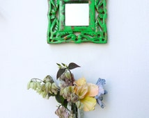 Pea green wall mirror, carved wooden frame, recycled,repurposed, shabby chic, distressed, small wall mirror.HM6-75