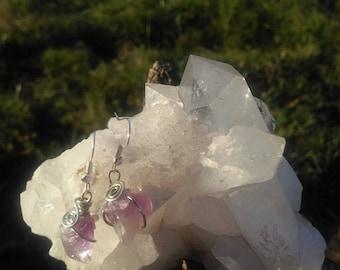 Amethyst Wire Wrapped Spiral Drop Earrings