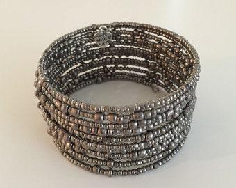 Beaded Memory Wire Bracelet, Iridescent Smoky Silver Beads