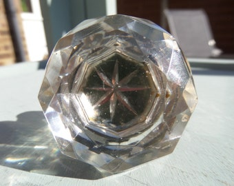 FREE SHIPPING Crystal Cabinet Knob, Draw Pull, Antique English Victorian, Clear Faceted Glass Crystal and Nickel, Metallic Inlaid Star 1.25""