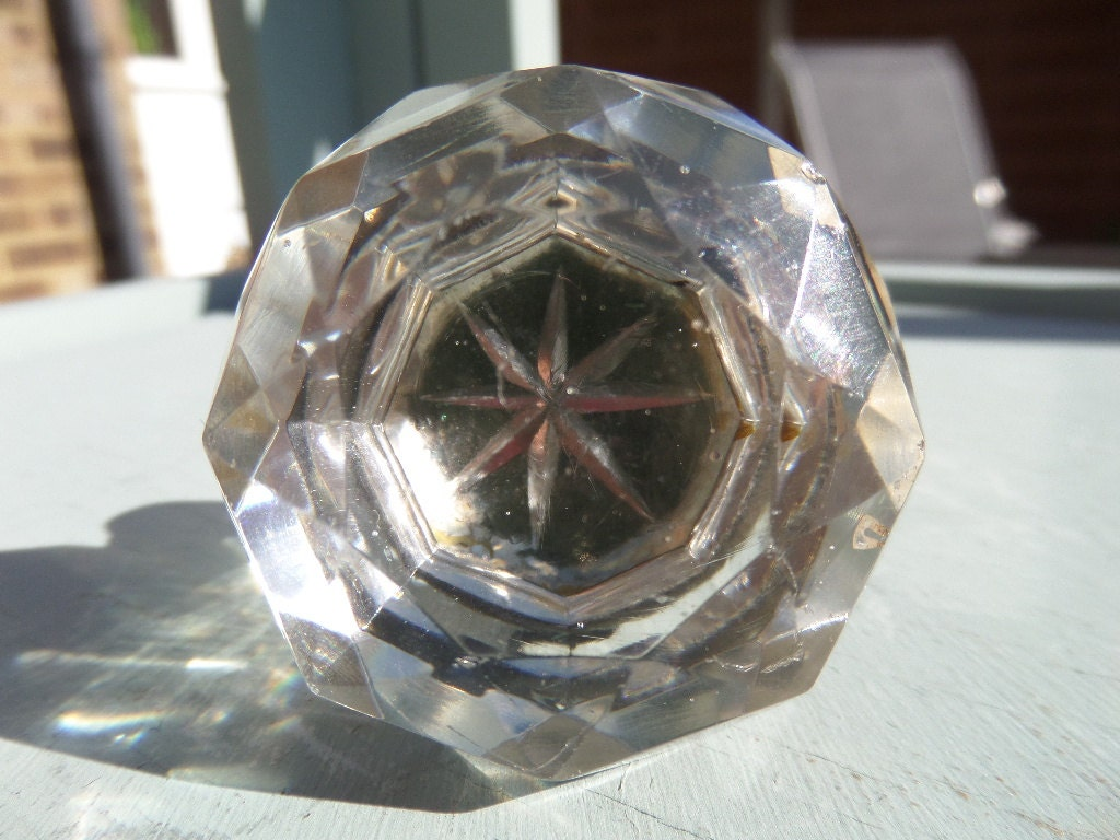 Crystal cabinet knob draw pull antique english victorian for Crystal bureau knobs