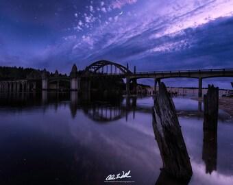 HWY 101 Dreamin', hwy 101, bridge, sunset, twilight, stars, moon, wall art, landscape,