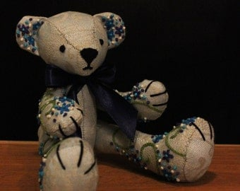 Hand embroidery blue blossom linen teddy bear