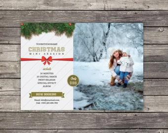 Christmas Mini Session Template   Marketing Board   Holiday Mini Session   Mini Session Card   Instant download Digital Photoshop File
