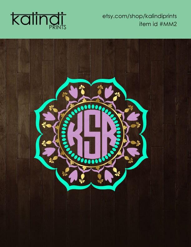 Download 3 colors Mandala Monogram frame monogram svg svg files for
