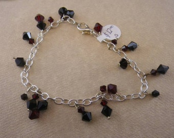 Silver Chain Bracelet with Red & Black Swarvoski Crystals