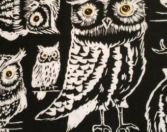 SALE........Owl Fabric Black Background 1 yard Cotton