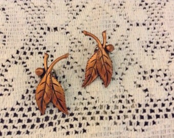 Vintage Copper Clip On Leaf Earrings