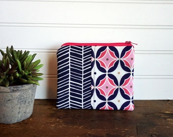 Zipper Bag - Small Coin Purse, Credit Card or Gift Card Holder, Navy and Pink Dots and Chevron
