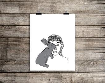 Binky, Downloadable Print, Modern Art, Printable Art, Instant Download, Continuous Line.