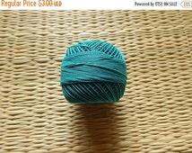 15% OFF Teal Blue Crochet Yarn, Mercerized Cotton Yarn, Knitting Yarn, Embroidery Yarn, Cotton Crochet Yarn - 120 Yards