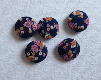 Set of 5 Blue Fabric Buttons, 25mm buttons, Cotton Fabric Buttons, Decorative Buttons, Fabric Covered Buttons, Floral Buttons
