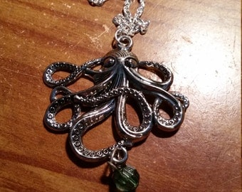 Octopus pendant necklace, 24 inch chain