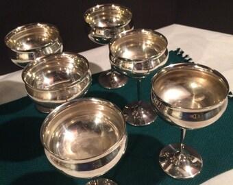Vintage Silver Plate Goblets 6 Silver Plate Wine Goblets