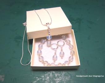 Silver set Opaliet, earrings, necklace pendant and bracelet