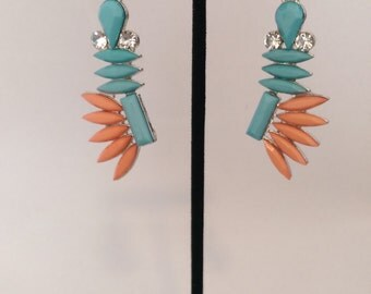 Art Deco Turqoise and Coral Earrings
