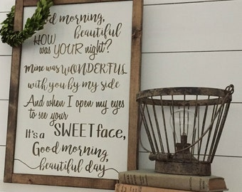 Good Morning Beautiful | Song Lyrics Sign | Wedding Gift | Framed Sign