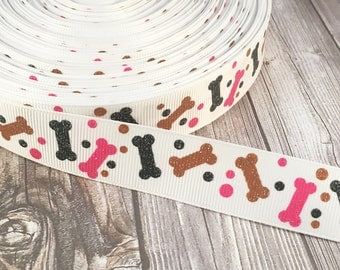 "Dog bone ribbon - 7/8"" grosgrain ribbon - Puppy ribbon - Glitter ribbon - Bones and dots - Pink grey brown - I love dogs - Shelter dogs"