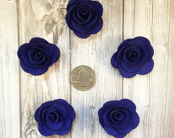 Royal blue burlap flowers - Set of 5 - Crafting roses - Craft supply flowers - 1 3/4 inch - DIY headband - Crafting supplies - Burlap roses