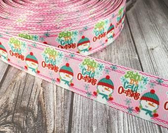 "Christmas ribbon - Snow man ribbon - Build a snowman - 1"" Grosgrain ribbon - Cold outside - Christmas bow DIY - Craft supplies"