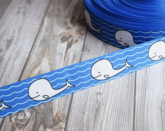 Whale ribbon -Nautical ribbon - Blue and white sea - Under the sea ribbon - 3 or 5 yard lot - Ocean ribbon - Cute whale ribbon - Cartoony
