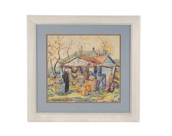 "1935 ""The Roadside Stand"" Watercolor Painting Louis Weiner Chicago Artist"