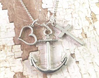 Faith Hope Love Necklace, Cross Anchor and Heart necklace, charm necklace, for her, religious jewelry