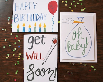 multiple occasion watercolor greeting card set >> get well soon card >> baby card >> happy birthday card
