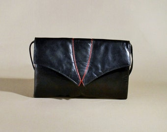 Vintage Black Charles Jourdan Leather Bag, Shoulderbag, Shoulderpurse, Small Bag, Evening Bag