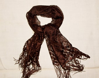 Chocolate Scarf Vintage Lace Scarf with fringe Long Oblong Scarf Summer Shawl Ukrainian Fringe Scarf Soviet Mesh Brown Scarf boho accessory