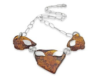 Amber Jewelry Necklace - Silver Amber Necklace - Amber Fossil Necklace - Amber Statement Necklace - Carved Amber Gemstone Charm