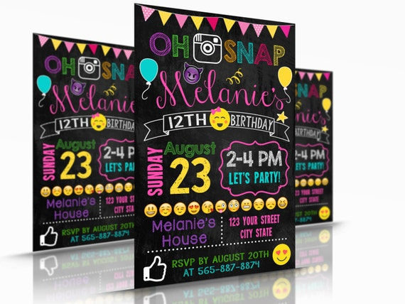 Emoji Printable Template Birthday Invitation