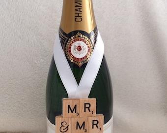 Mr & Mr wedding keepsake, scrabble tile bottle hanger/decoration, civil partnership memento