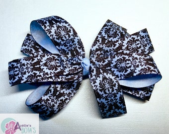 Blue and Black Damask Loops and Tails Hair Bow with 2 inch French Barrette